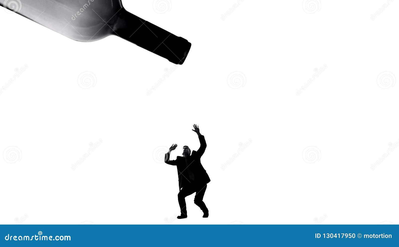 Pessoa da matança da gota da bebida alcoólica, problema do apego, efeito prejudicial na saúde
