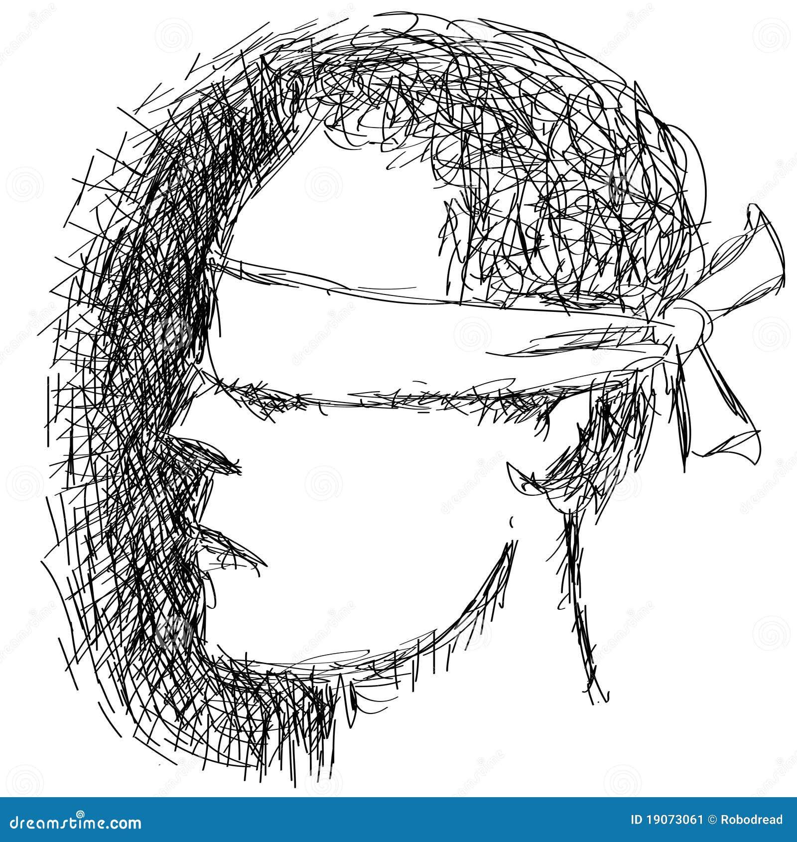 Pessoa de olhos vendados