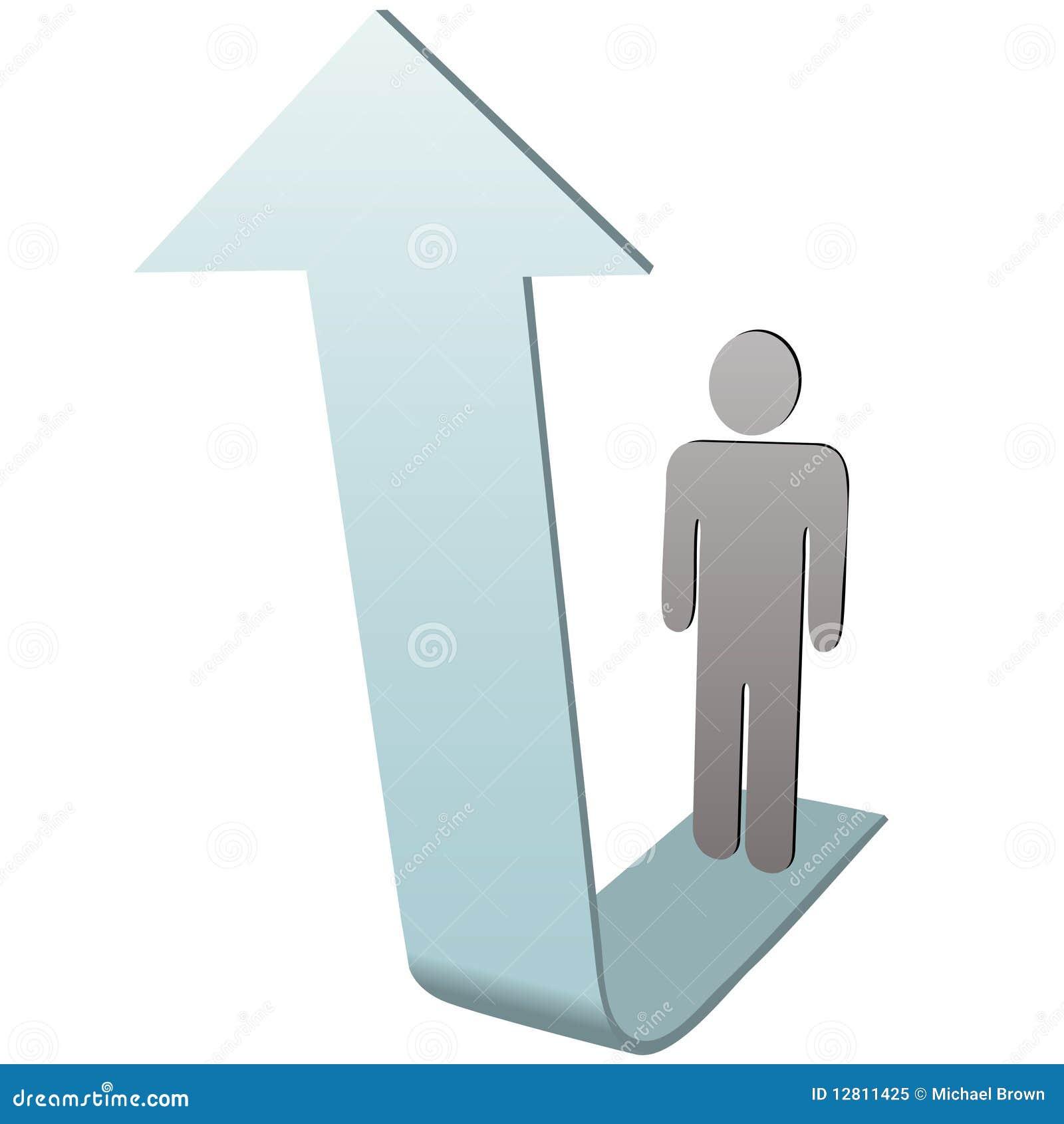 Pessoa do símbolo na seta ascendente ao sucesso