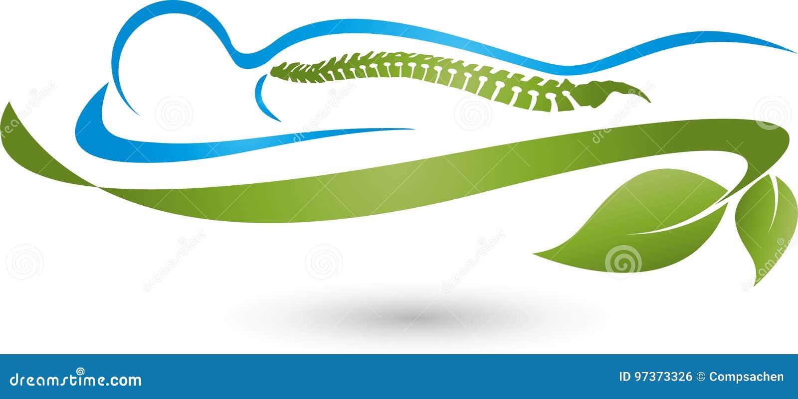 Pessoa e folhas, planta, massagem e logotipo ortopédico