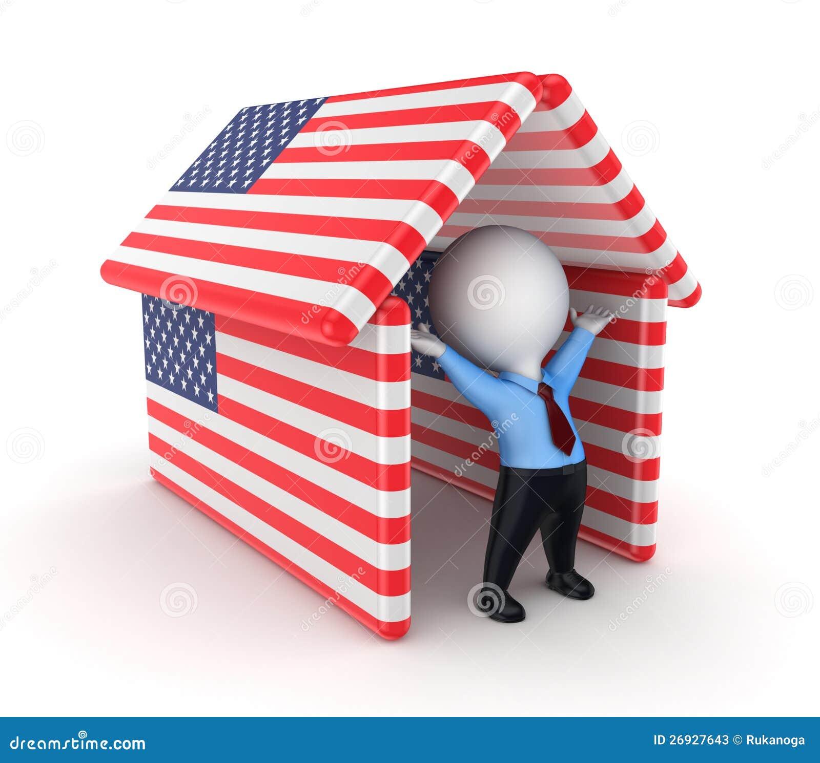 Pessoa pequena sob bandeiras americanas.