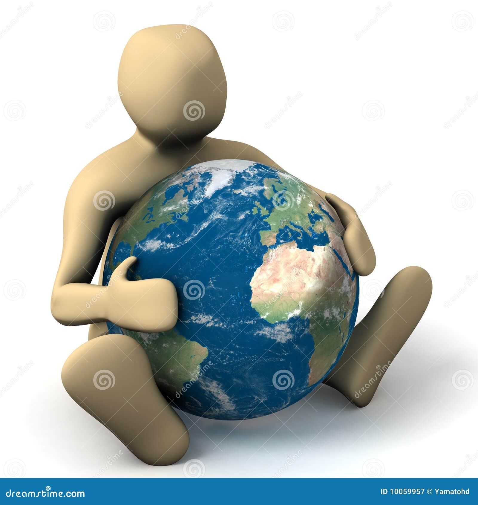 Pessoa que abraça um planeta