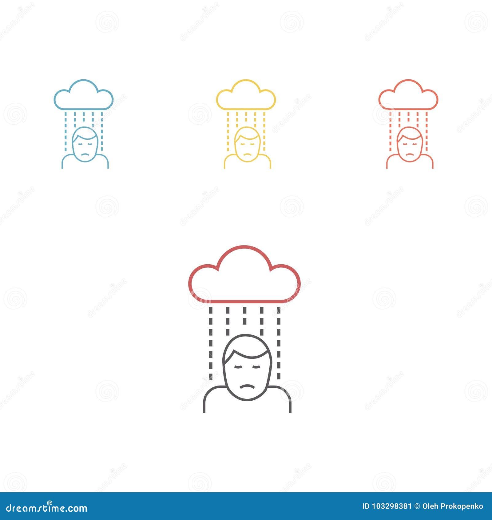 Pessoa Triste Deprimida Linha Icone Ilustracao Lisa Dos Desenhos