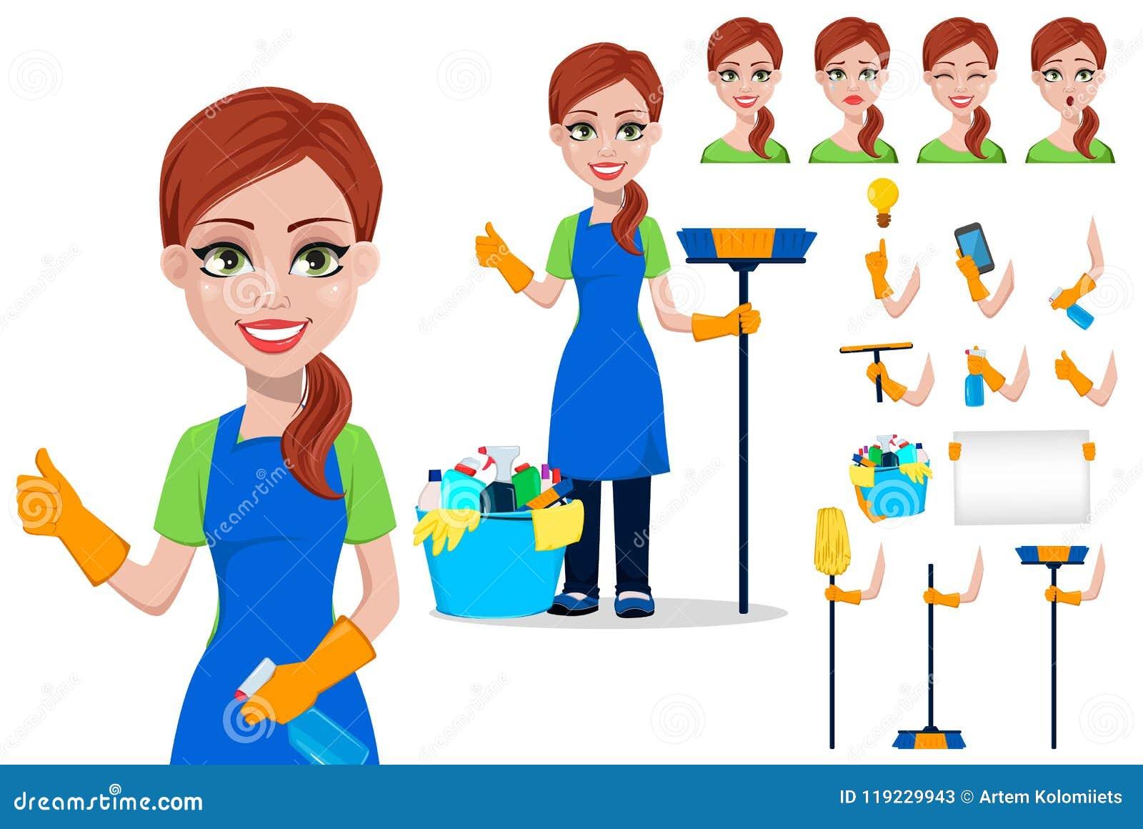 Pessoal da empresa da limpeza no uniforme