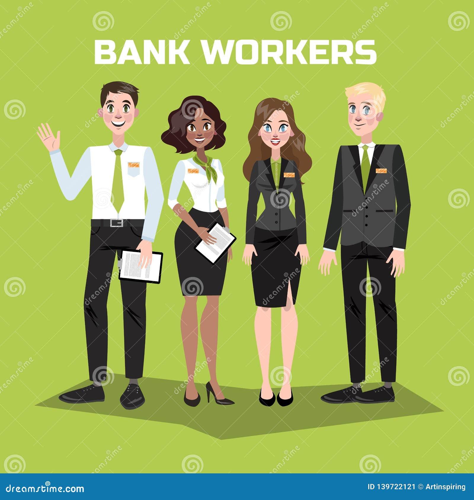 Pessoal do banco no terno Mulheres e homens