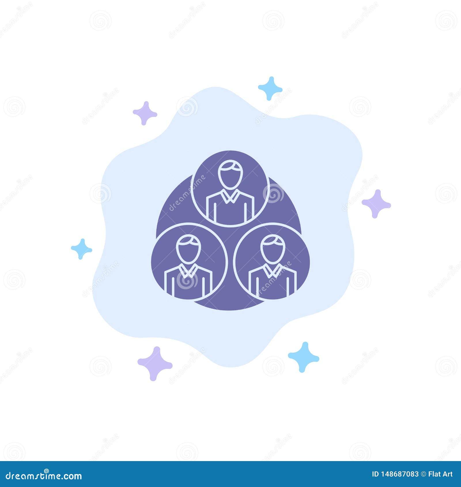 Pessoal, grupo, clone, ícone azul do círculo no fundo abstrato da nuvem