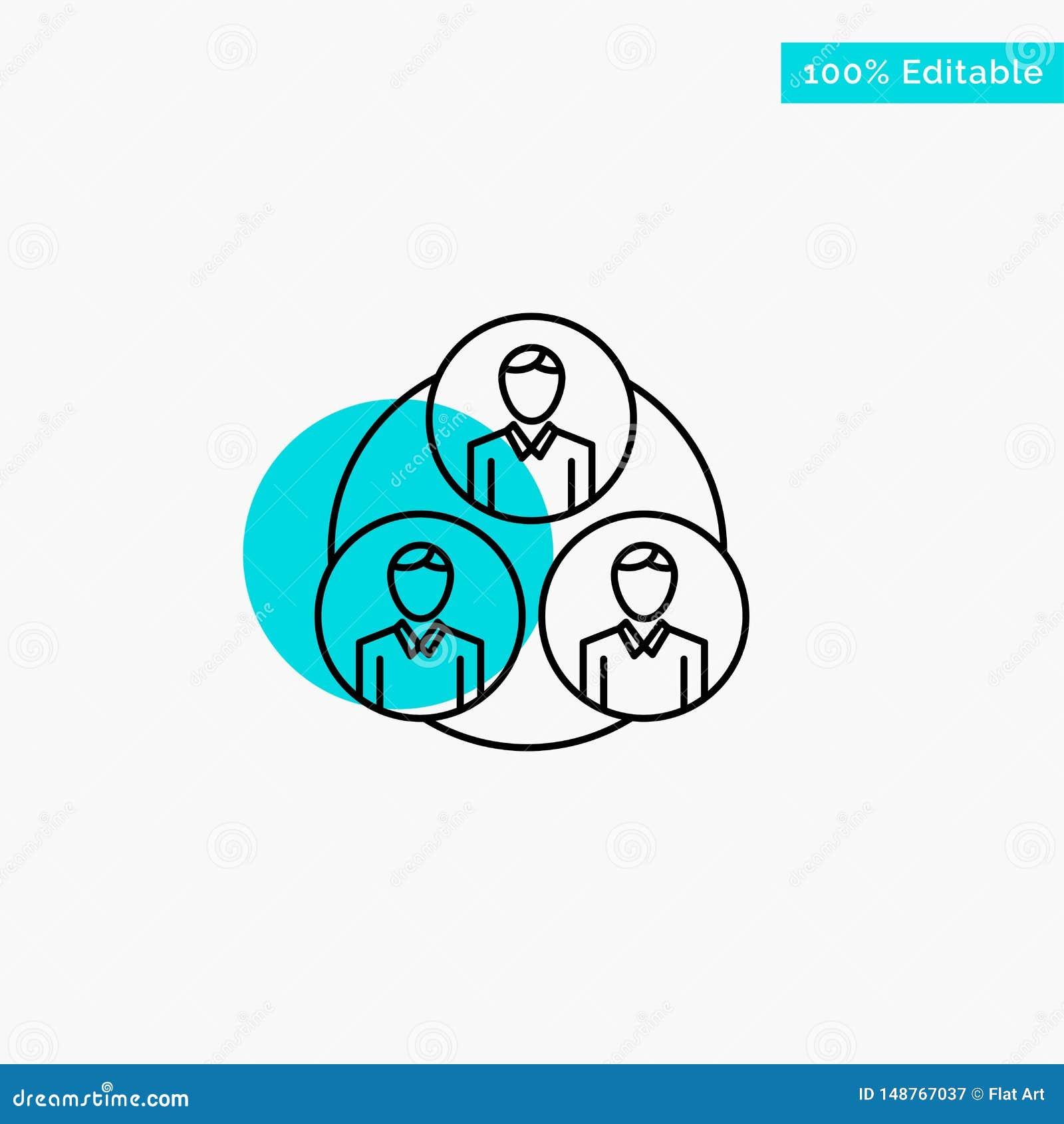 Pessoal, grupo, clone, ícone do vetor do ponto do círculo do destaque de turquesa do círculo