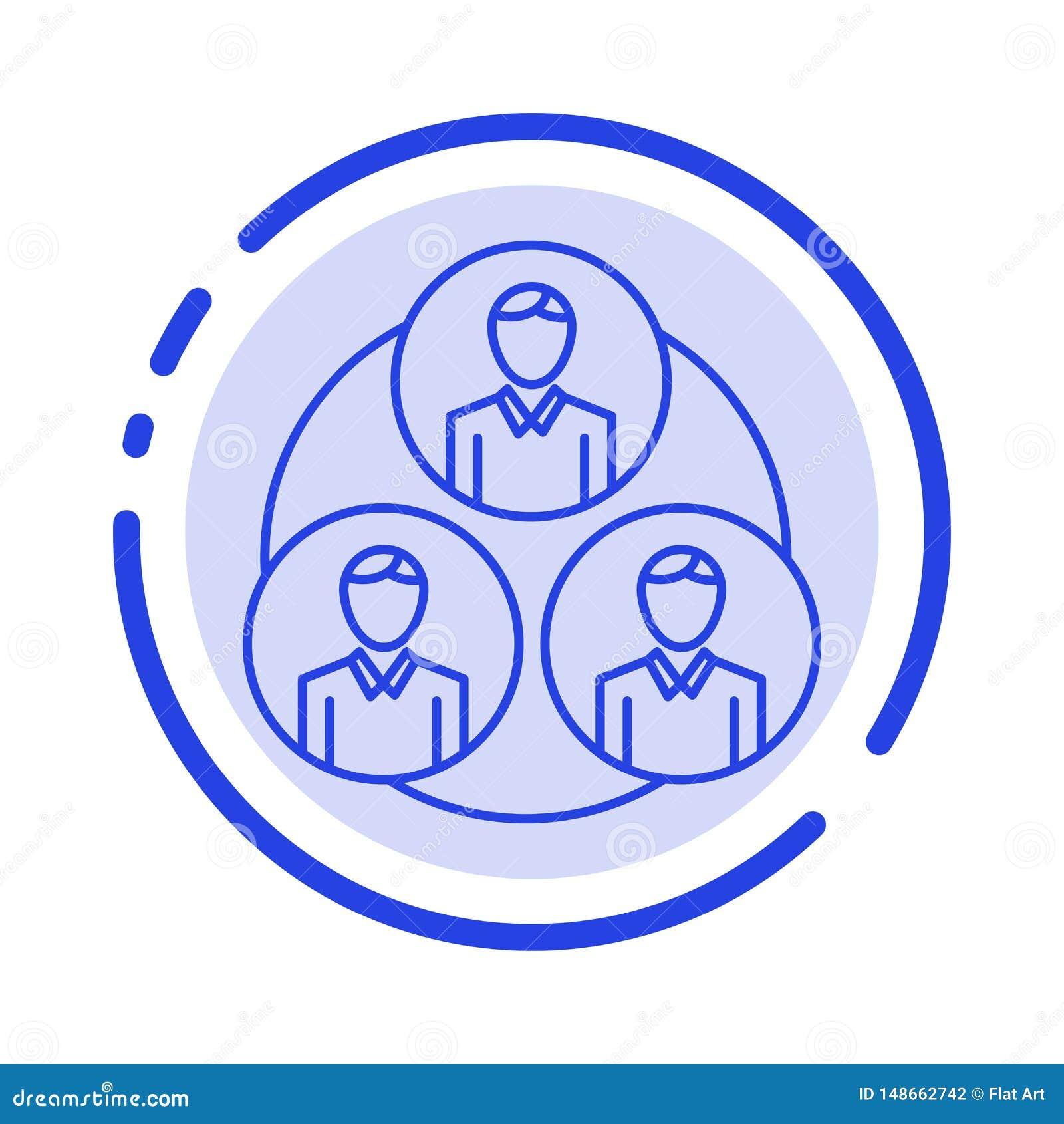 Pessoal, grupo, clone, linha pontilhada azul linha ícone do círculo
