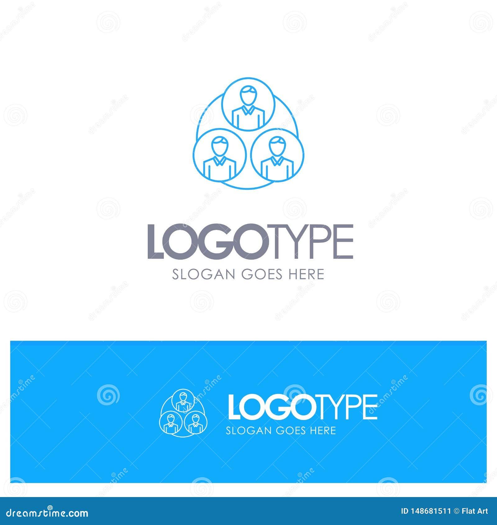 Pessoal, grupo, clone, logotipo azul do esboço do círculo com lugar para o tagline