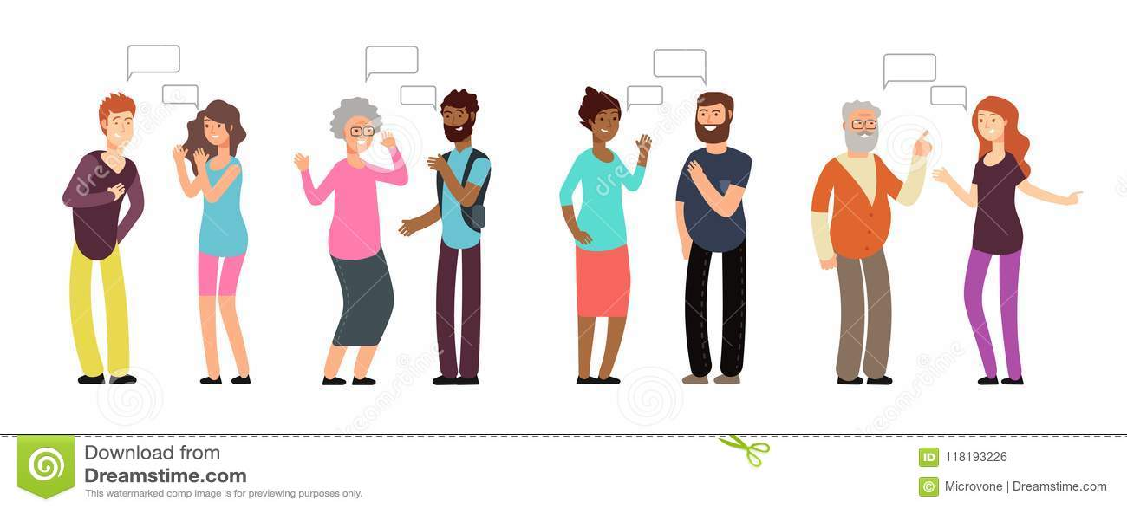 Pessoas de conversa Os povos agrupam na conversação Homens e mulheres que discutem com a bolha de pensamento Uma comunicação do v
