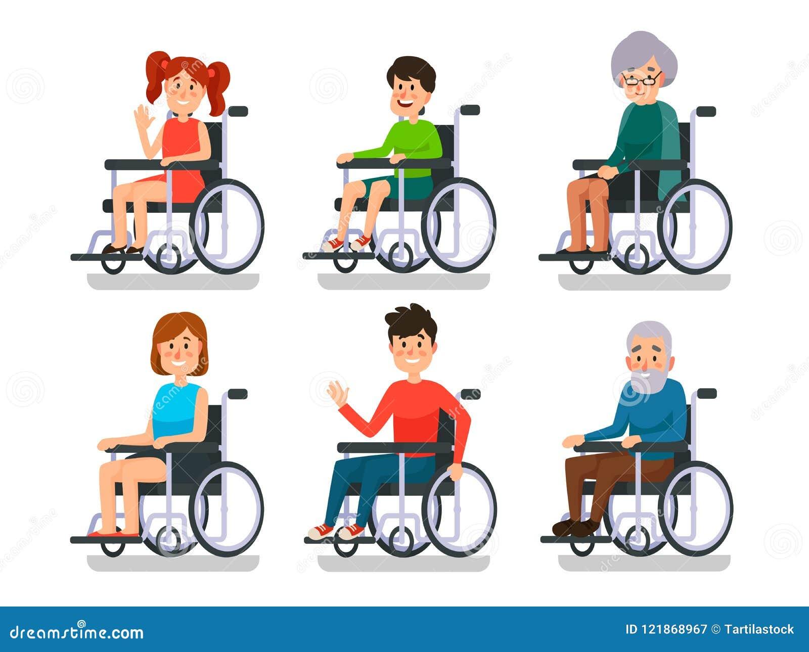 Pessoas na cadeira de rodas Paciente hospitalizado com inabilidade Menino deficiente e menina, mulher do homem e pessoas adultas