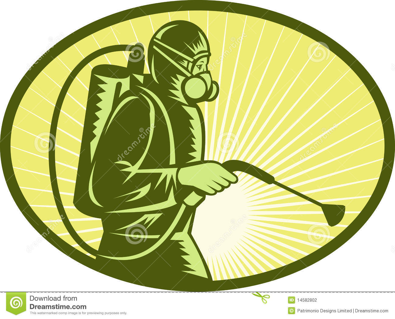 Illustration of a Pest control exterminator worker spraying side view.