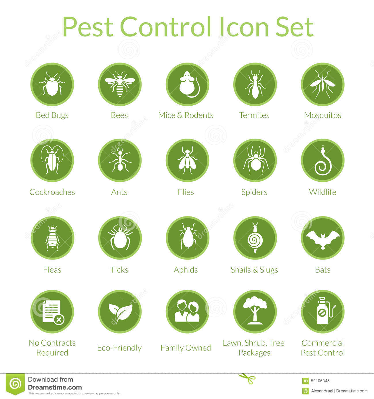 Pest Control Icon set stock vector. Illustration of cockroach - 59106345