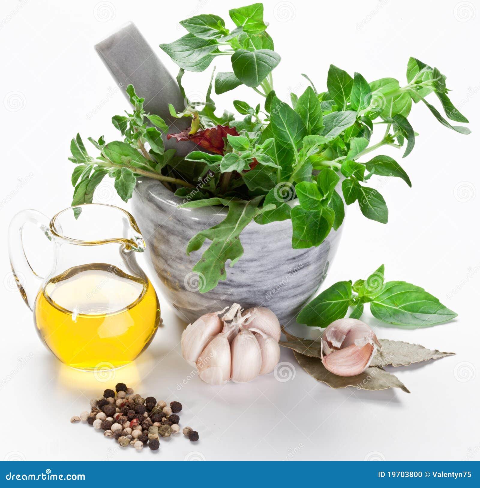 Pestle för olivgrön för olja för basilikaörtmortel