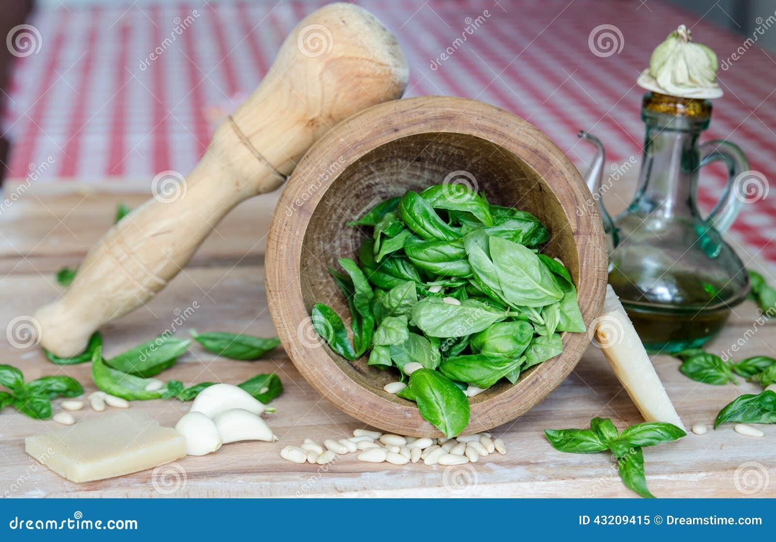 Download Pesto sås fotografering för bildbyråer. Bild av olja - 43209415
