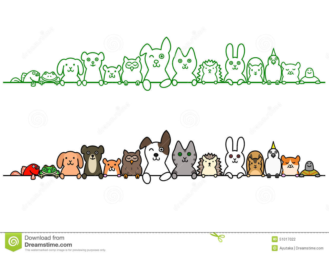 When Scanning Line Art You Should : Pet animals in a row with copy space stock vector