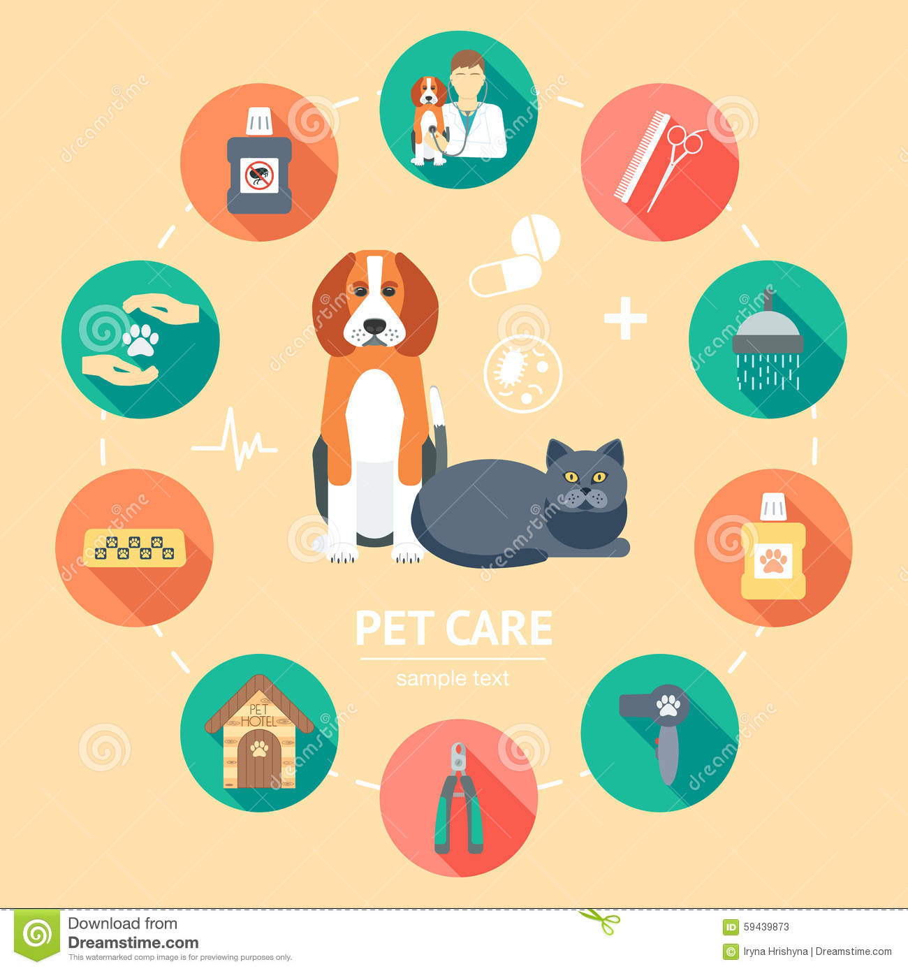 Pet Care Flat Icon Set. Pet Care Banner, Background, Poster, Concept. Flat  Design. Vector  Pet Poster