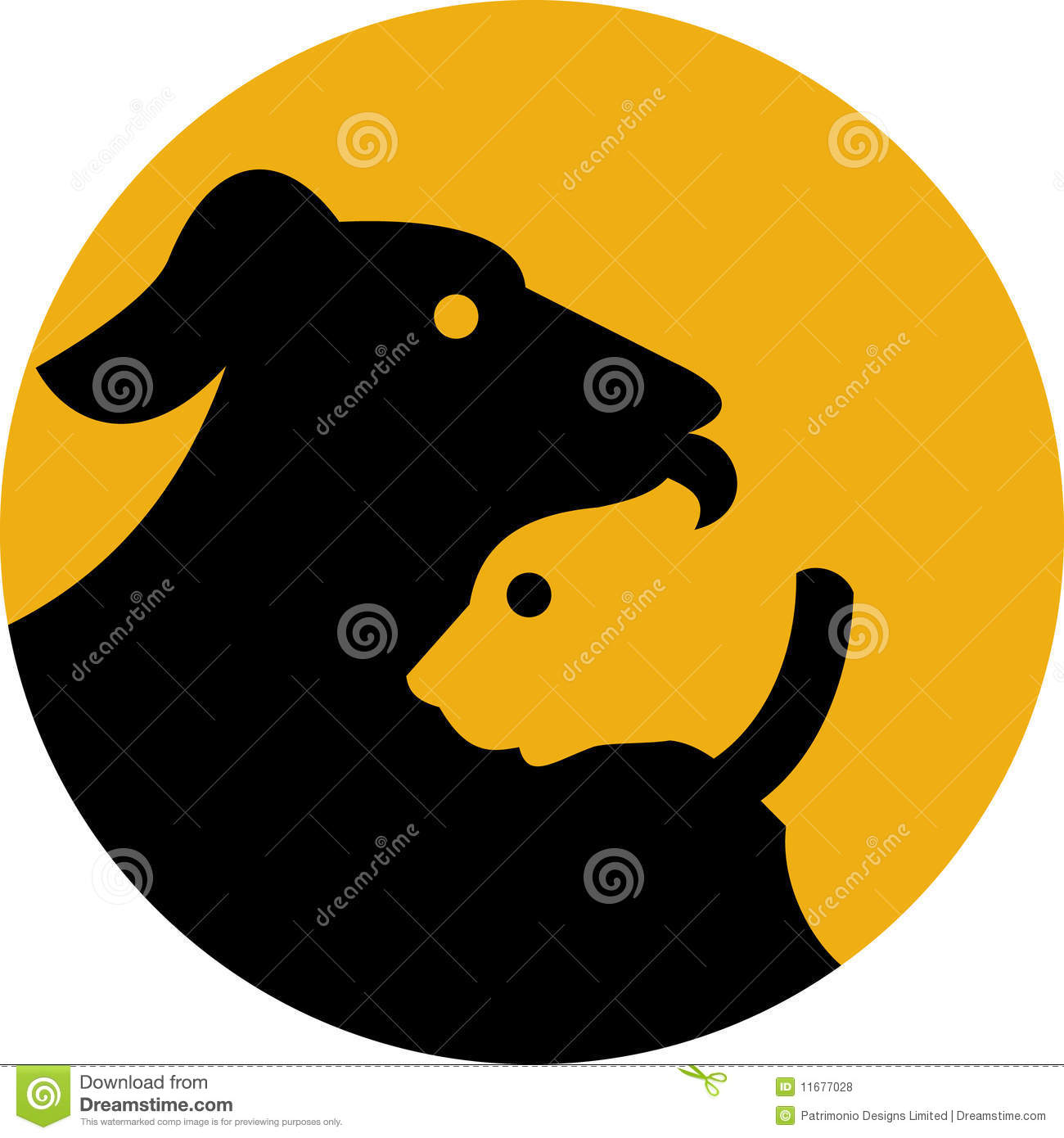Pet dog and cat silhouette icon