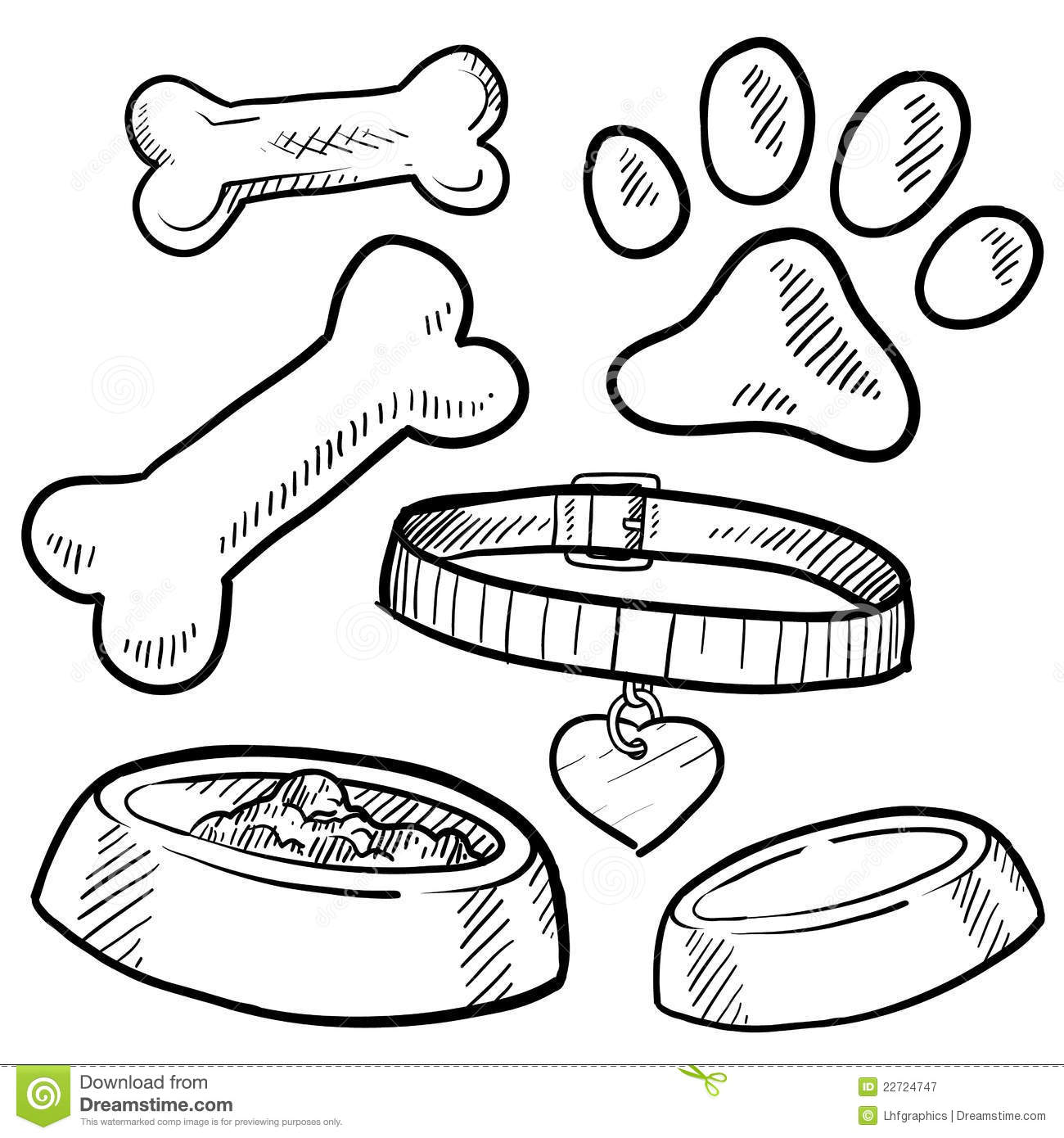 Pet Dog Items Sketch Stock Vector Illustration Of Treat 22724747