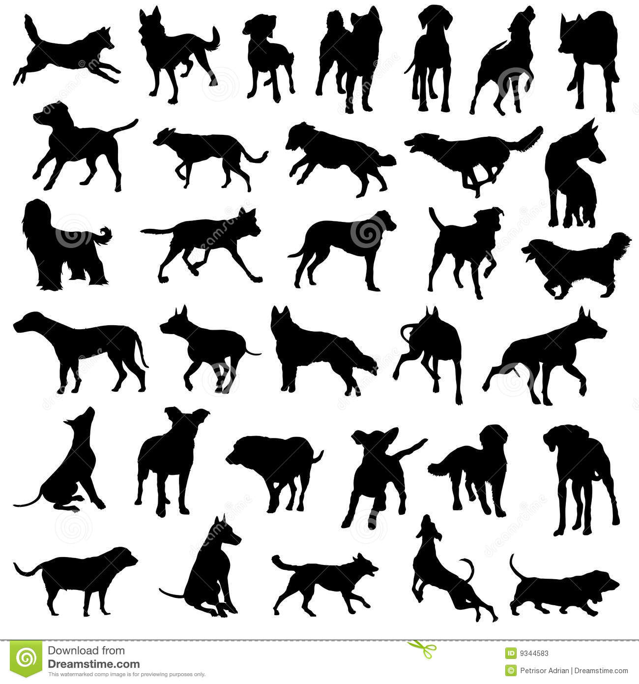 Pet dogs silhouette vector collection
