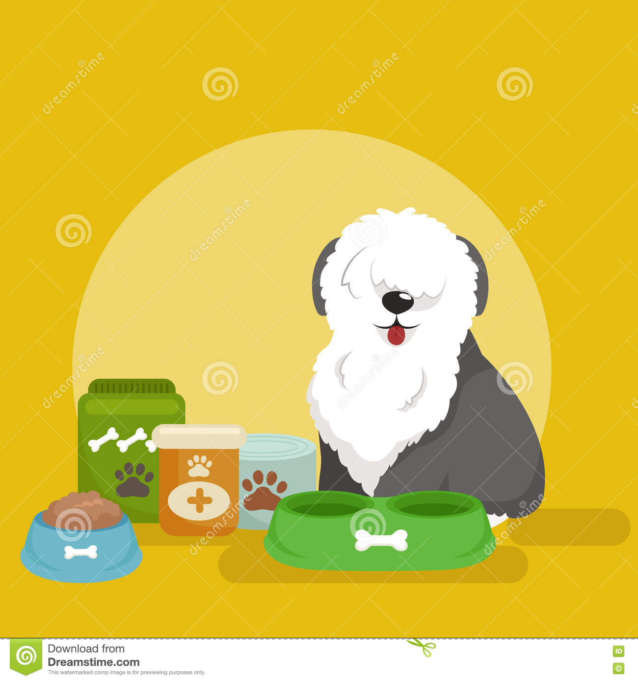 bone meal for dogs. Download Pet Food In Bowl, Bone Meal For Dogs Eating Vector Stock - Illustration