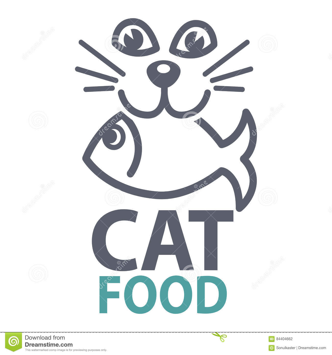 Pet food logo with cat icon. concept of veterinary