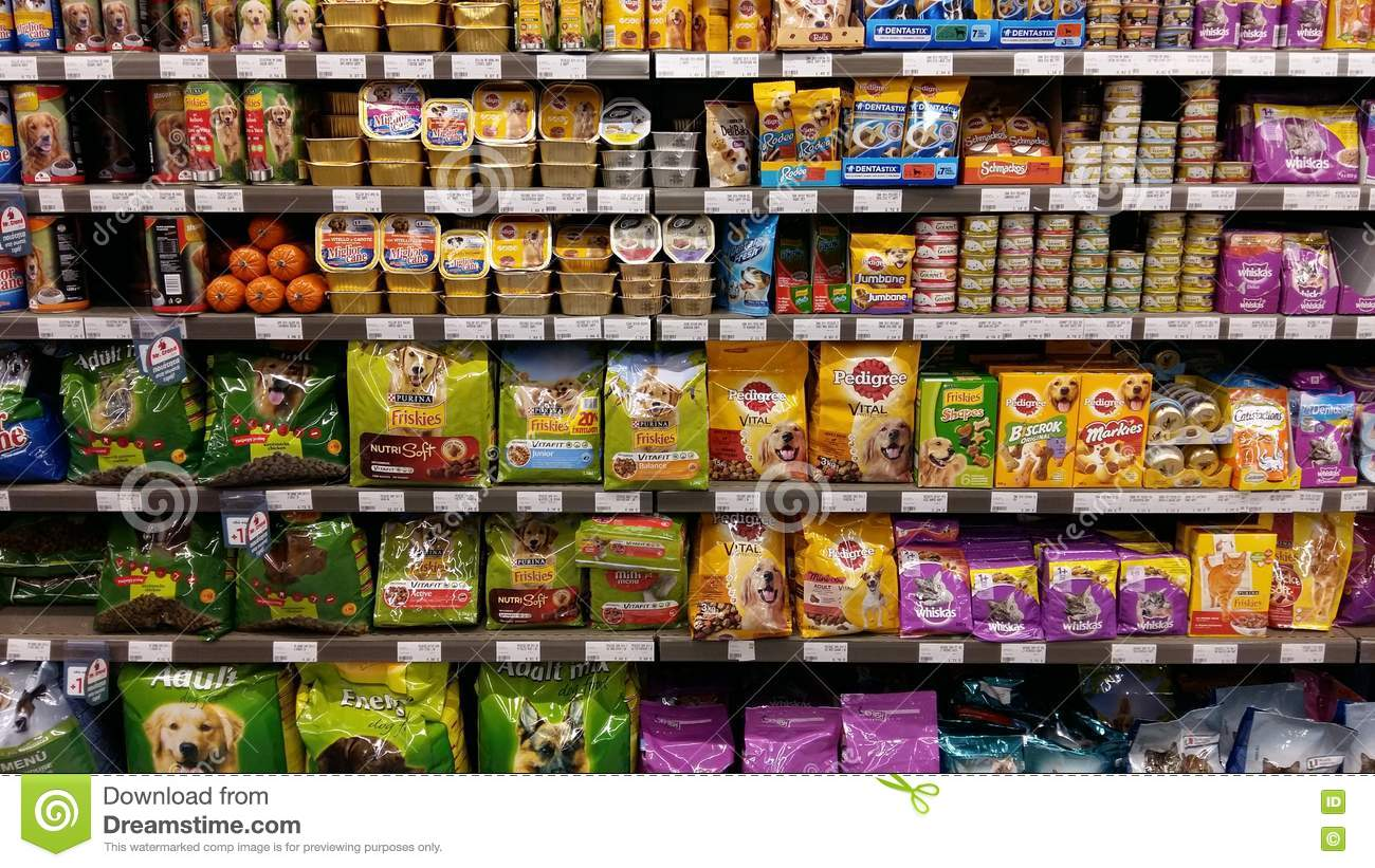 Pet Food Shelves In Supermarket Editorial Image Image Of