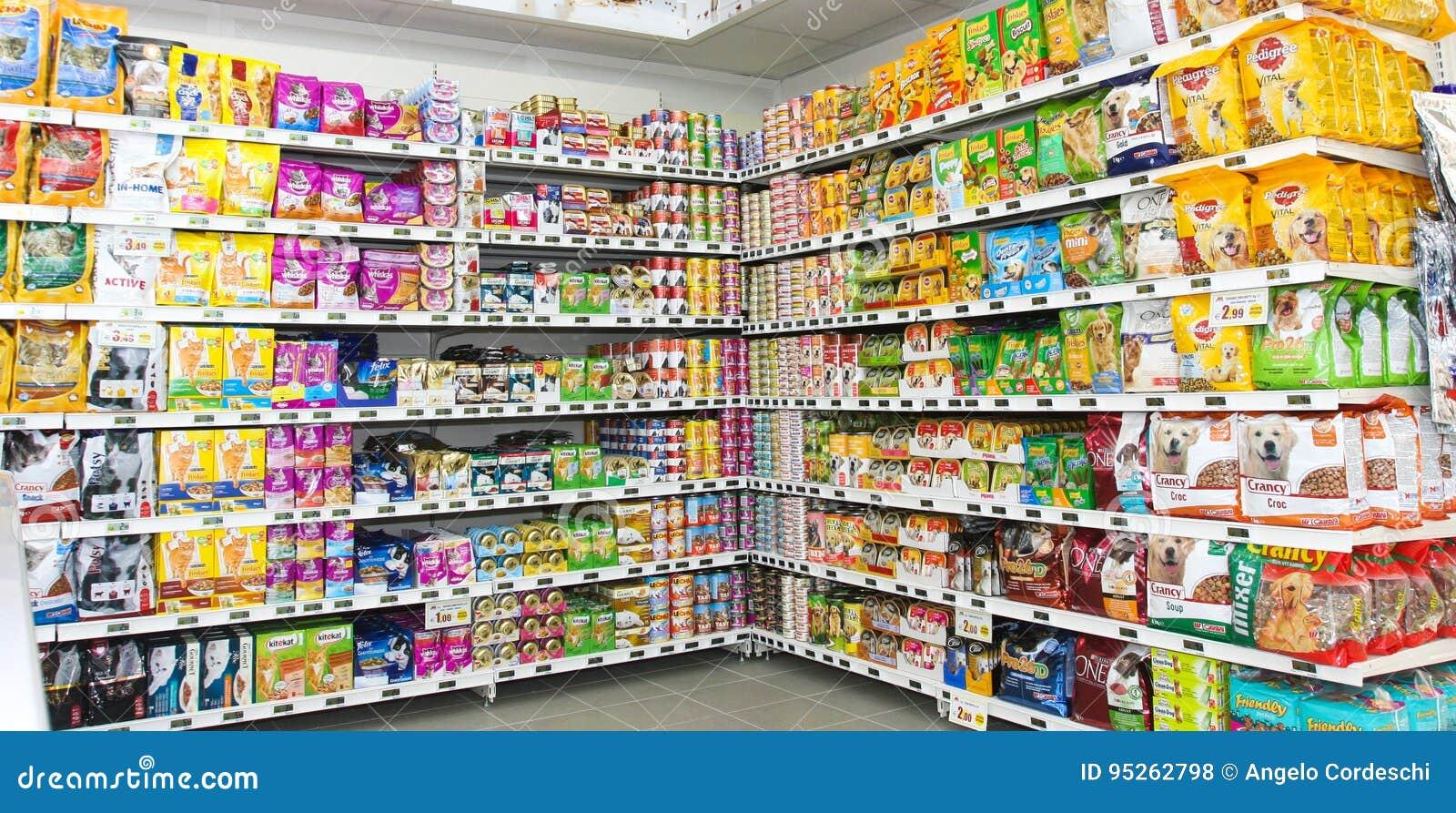 pet food store shelving shelf unit editorial stock photo. Black Bedroom Furniture Sets. Home Design Ideas