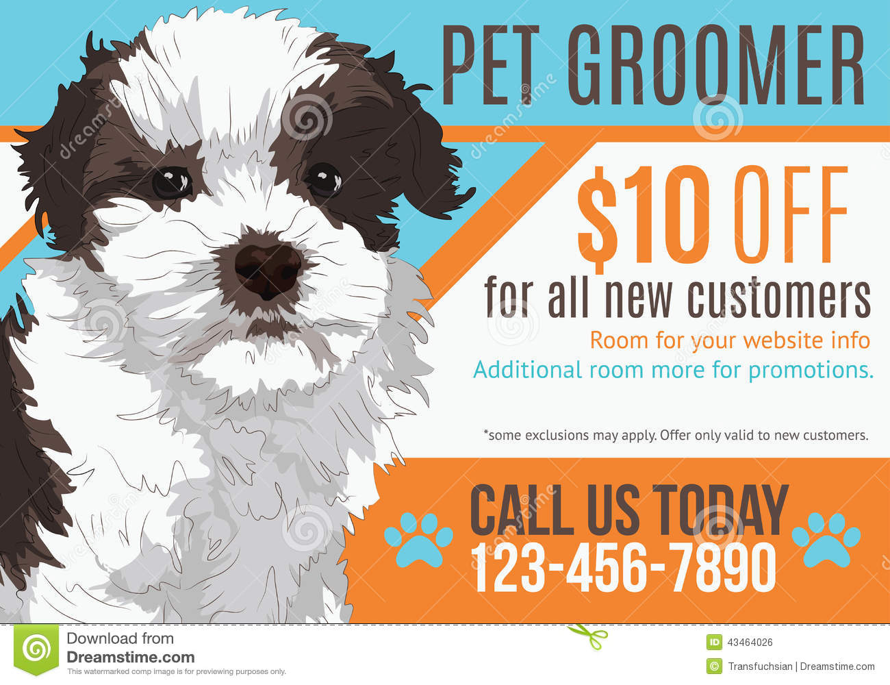 postcard advertisement template for hvac company stock vector pet groomer postcard template royalty stock image