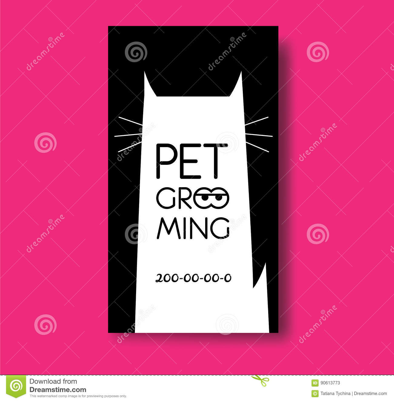pet grooming business card design template with cat silhouette
