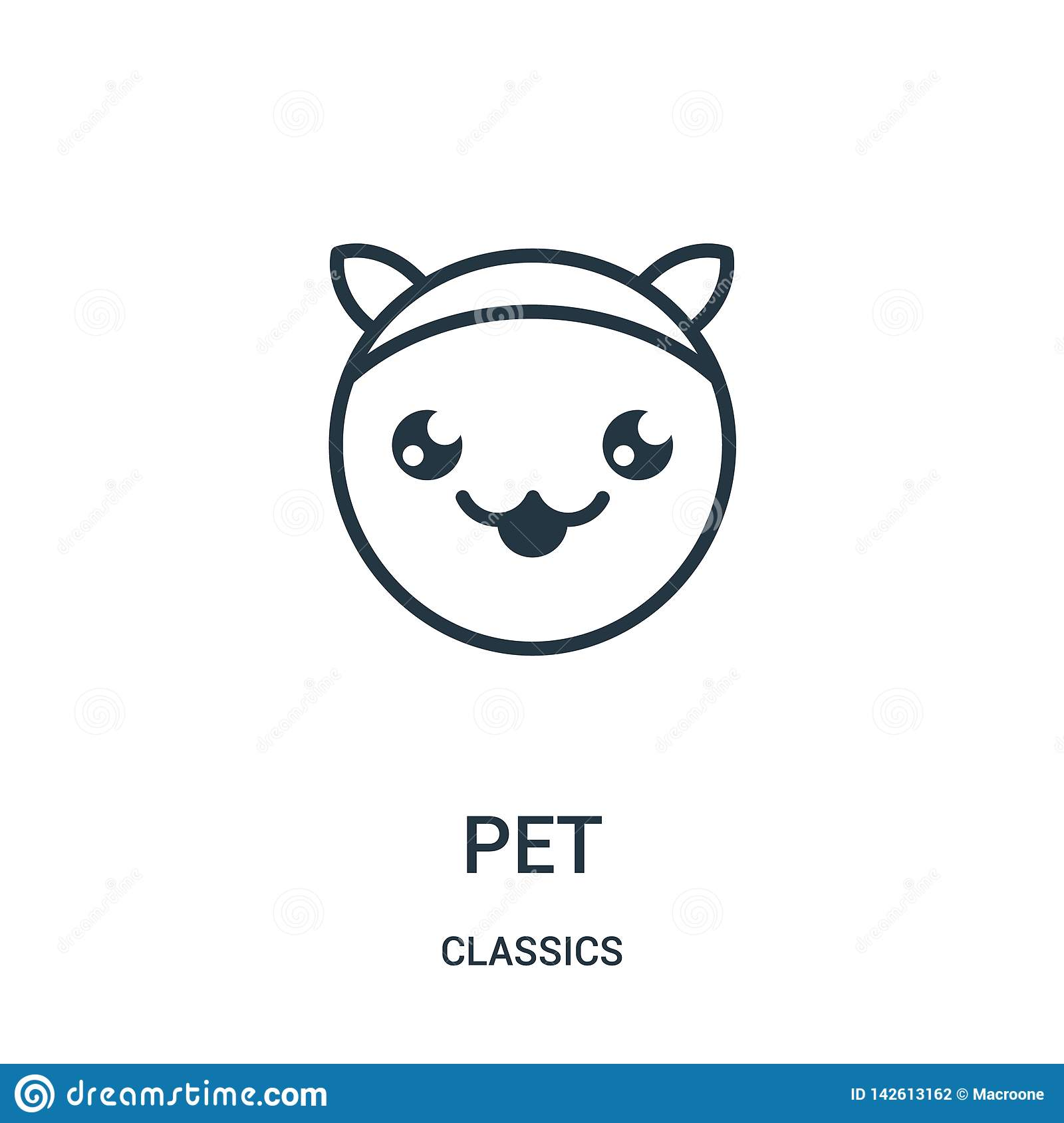 pet icon vector from classics collection. Thin line pet outline icon vector illustration. Linear symbol