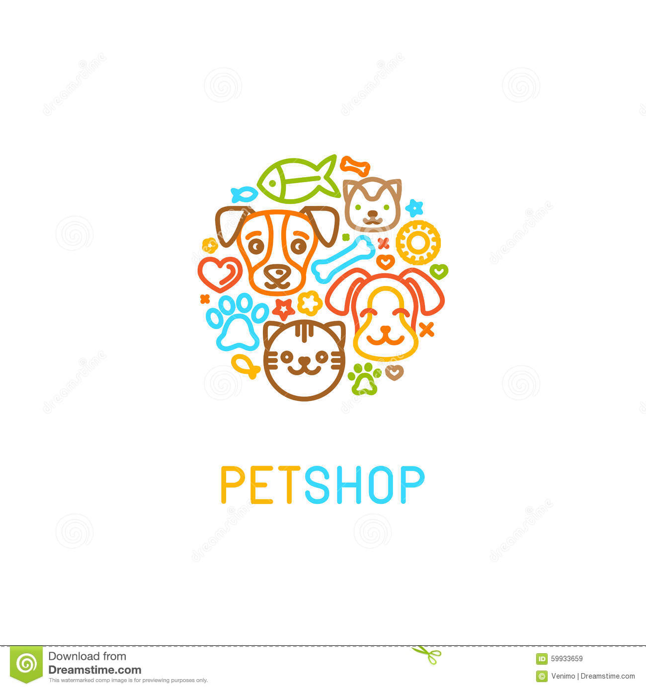 pet logo design elements stock vector image 59933659
