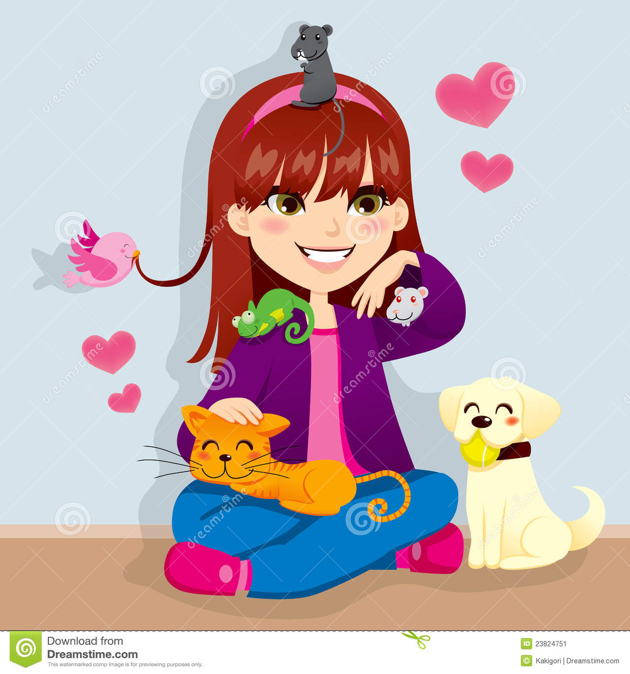 Pet Lover Girl stock vector. Image of doggy, love, pretty ...