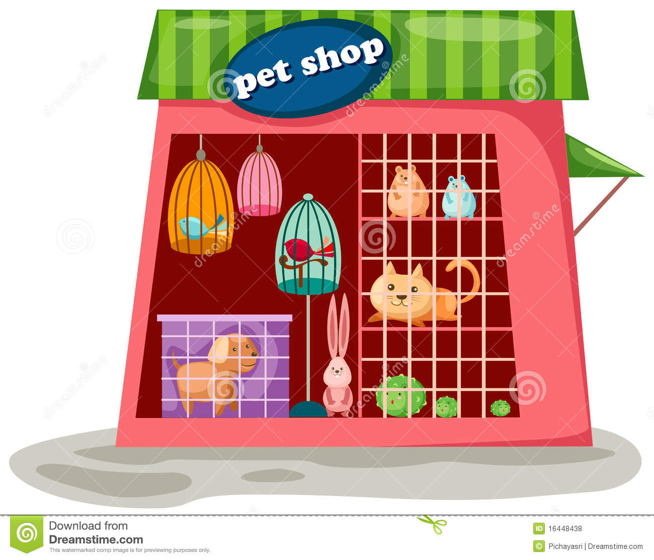 Illustration of isolated cartoon pet shop on white background