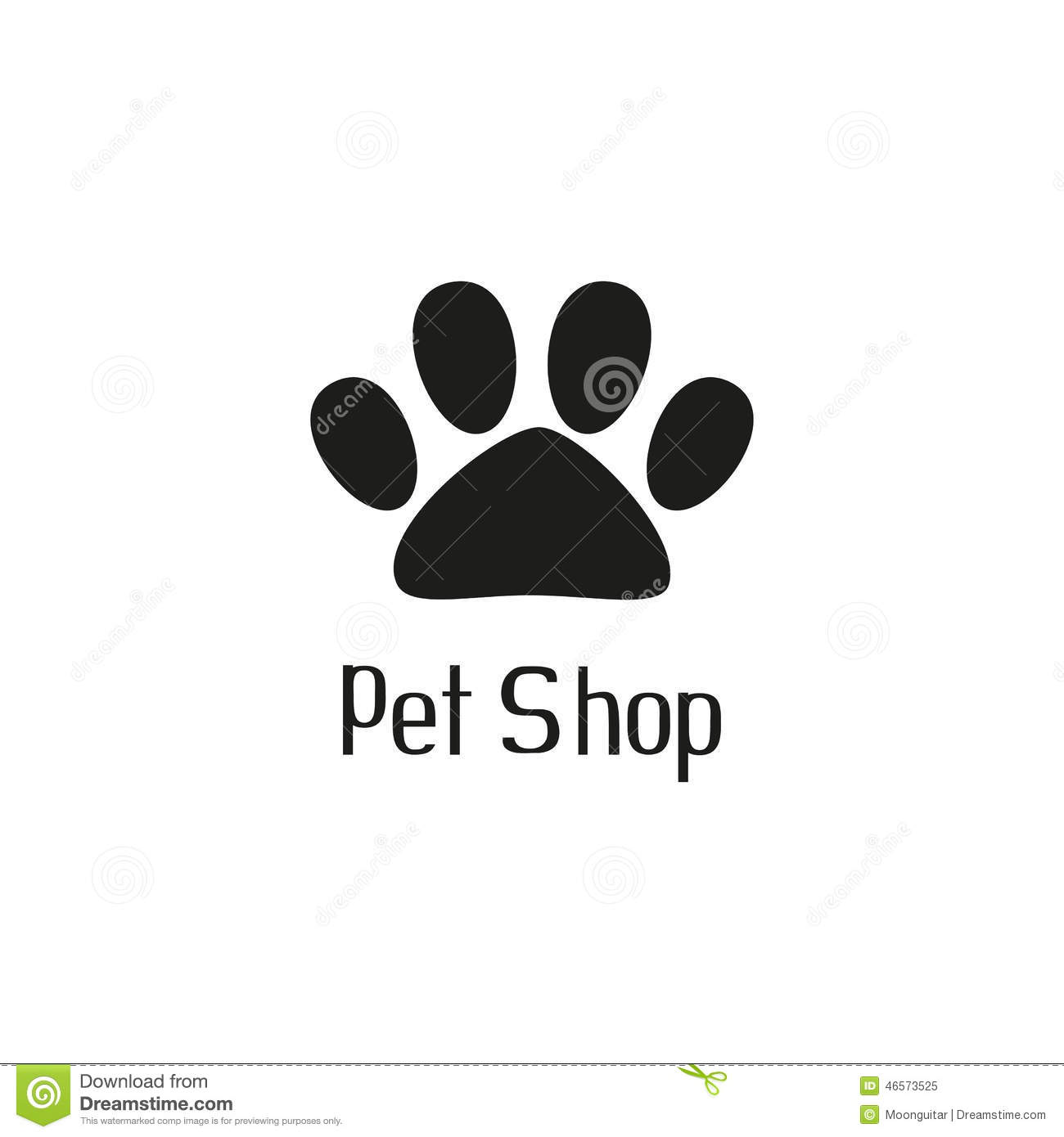 Pet shop logo with pet paw and hand drawn inscription, vector ...