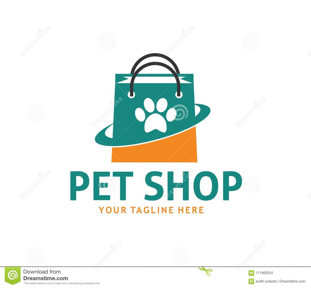 Pet Shop Online Vector Logo Design Stock Illustration