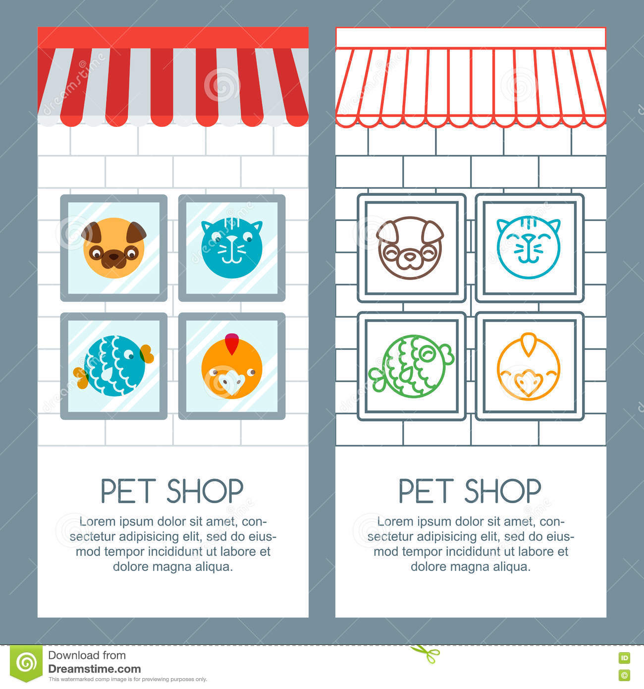 Pet Shop Pets Care Veterinary Concept Vector Banner Poster Or