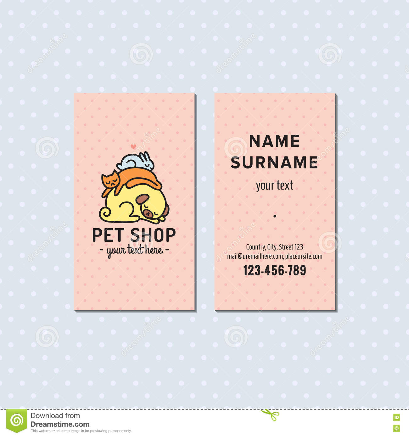 Pet shop pink vector business card cute multicolored logo with pet shop pink vector business card cute multicolored logo with sleeping dog cat and bunny reheart Images