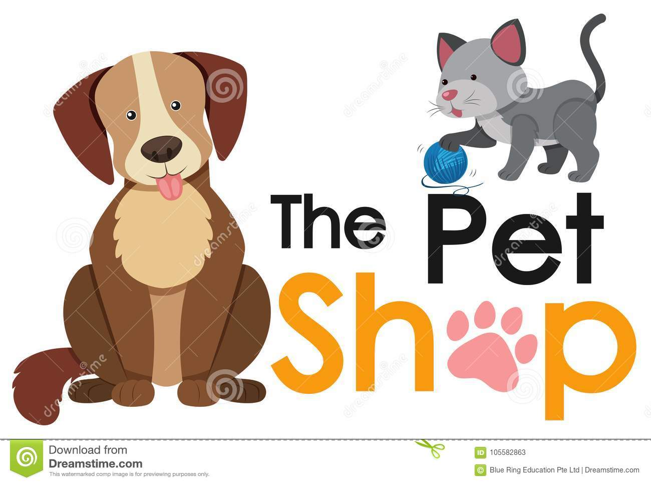 Pet Shop Poster Design With Cat And Dog Stock Vector ...