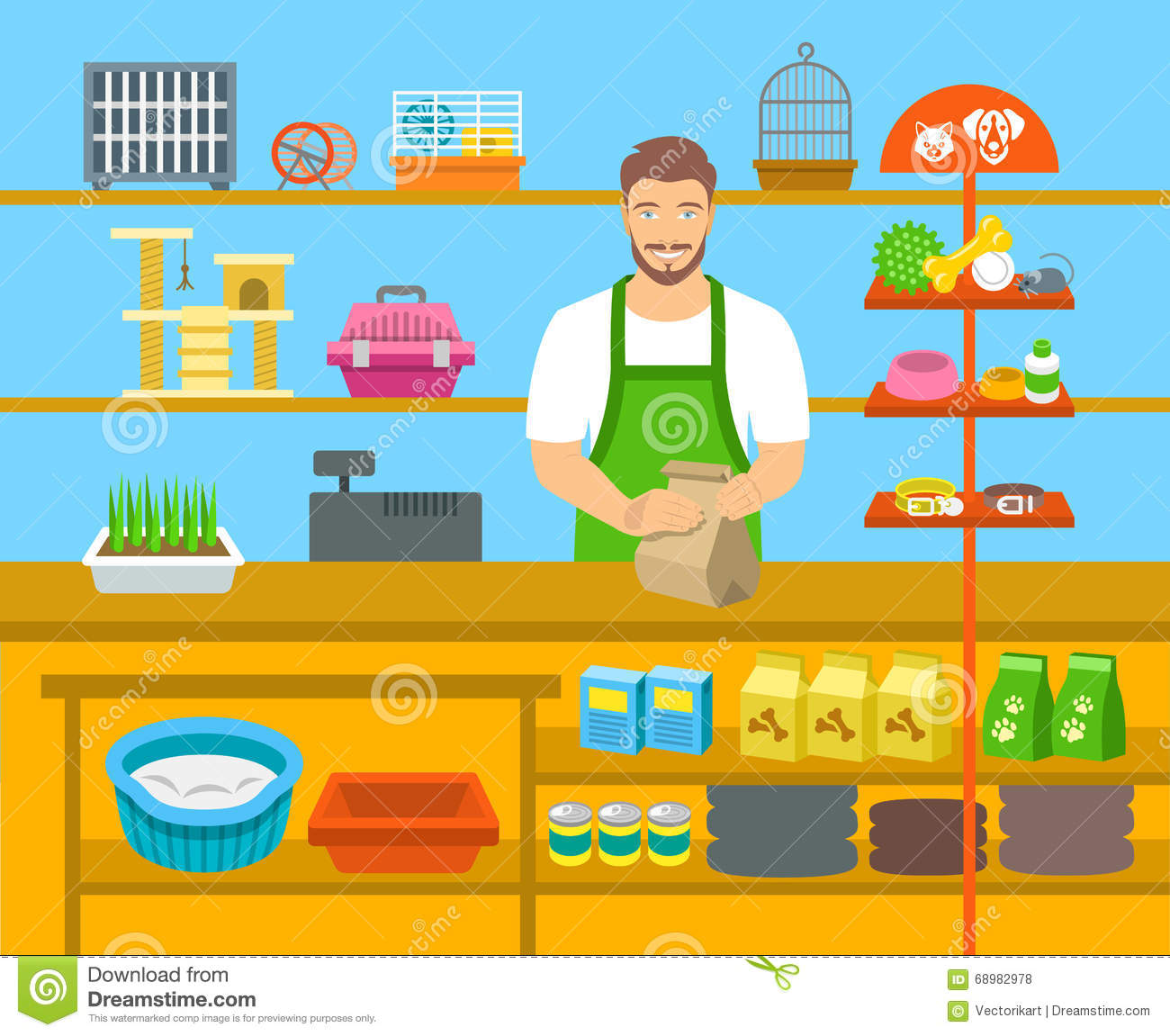 Pet Shop Seller At Counter In Store Flat Illustration ...