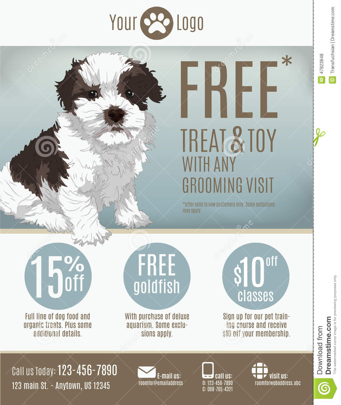 Pet Store Flyer Template Stock Vector Illustration Of Maltese