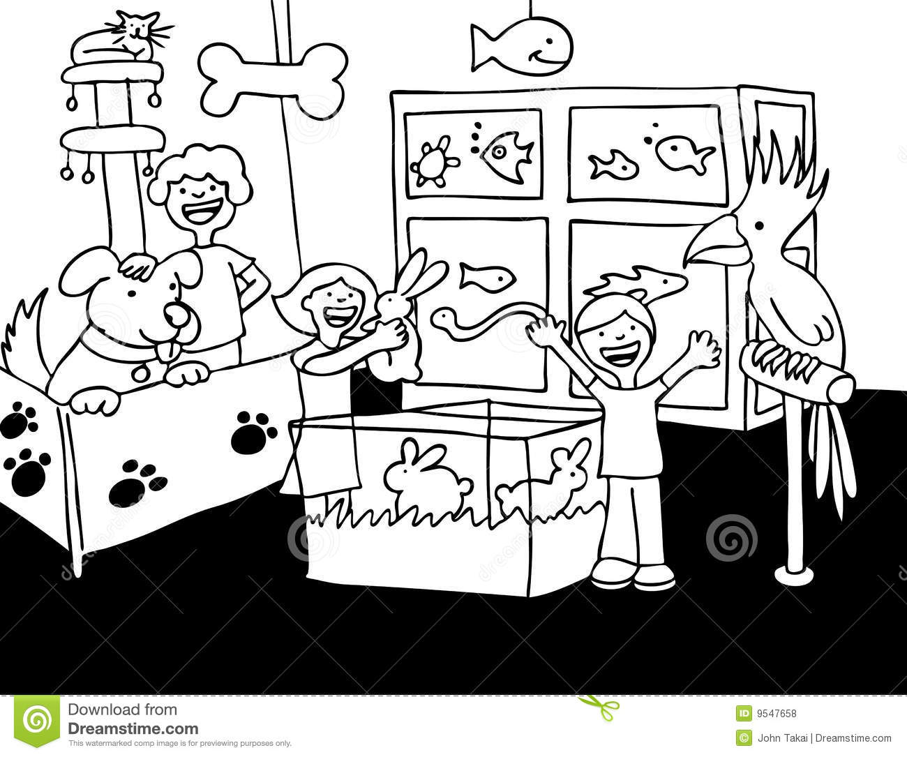 Pet Store Visit Black And White Royalty Free Stock