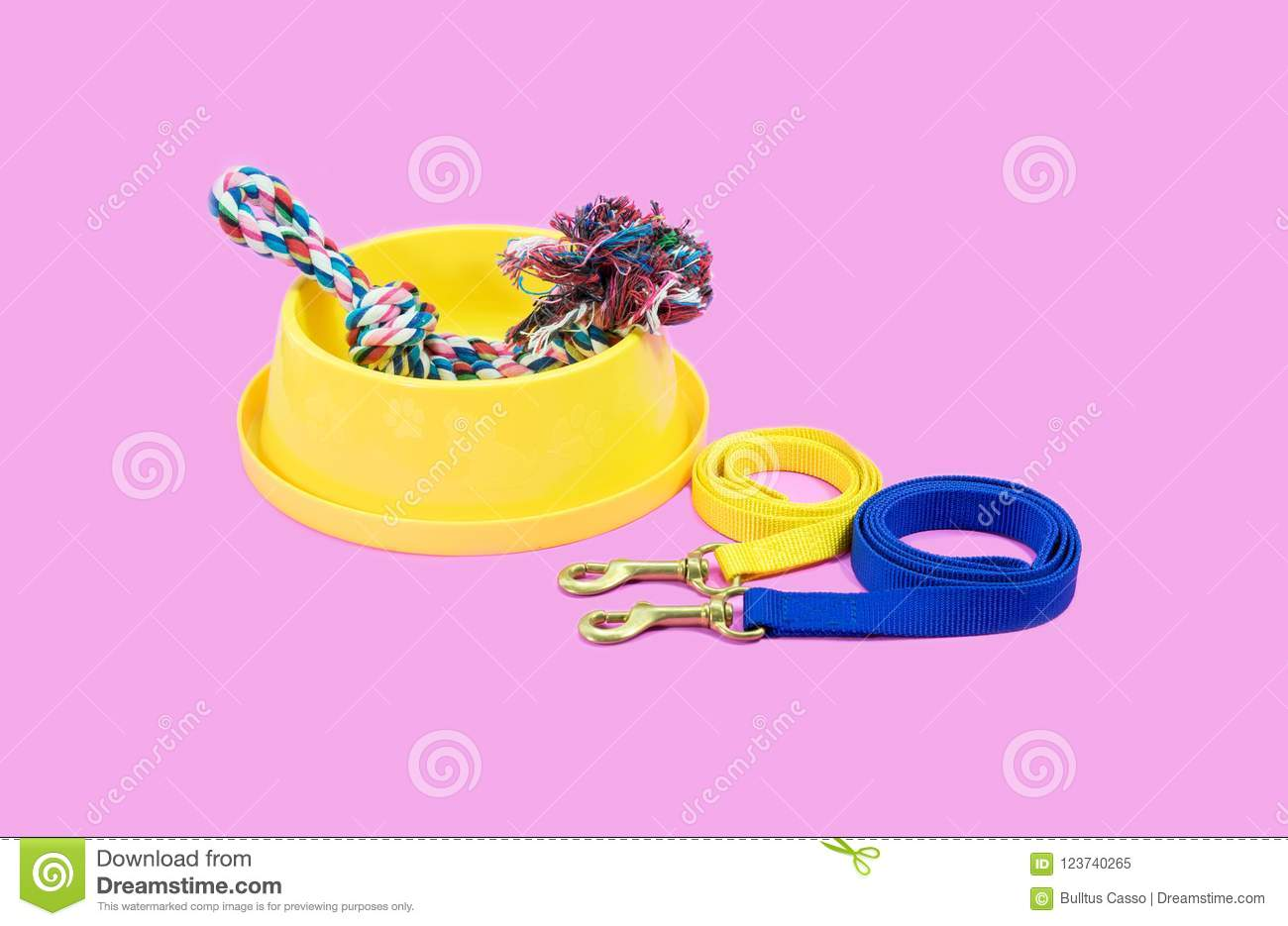 Pet supplies concept. Bowl with leash and rope on pink