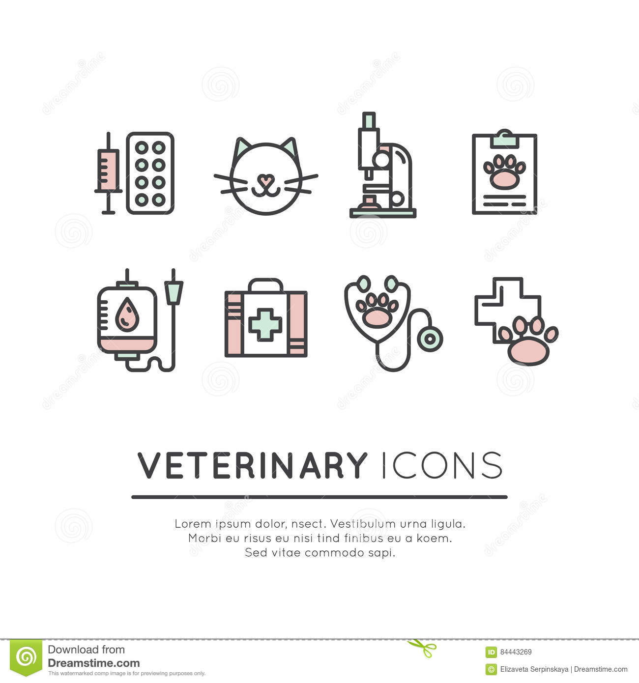 Pet Shop And Vet Clinic Vector Logo With Line Icons Of ...