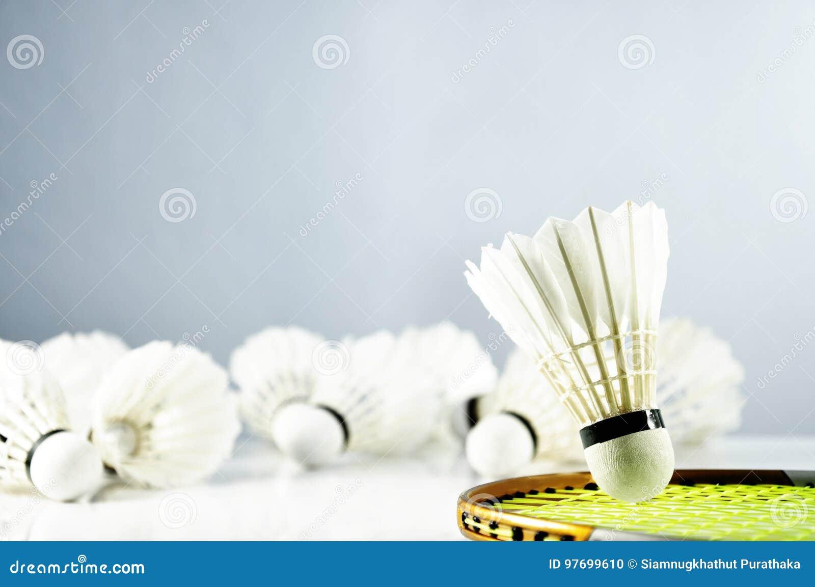 Peteca e raquete da bola do badminton no assoalho
