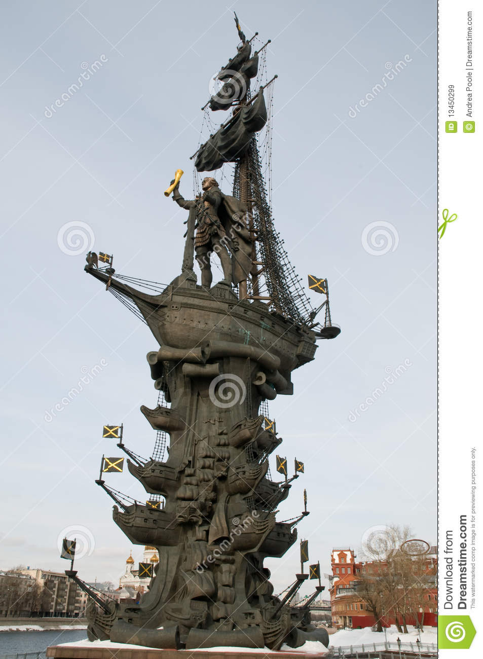 Of peter the great on a sailing ship on the moskva river in russia