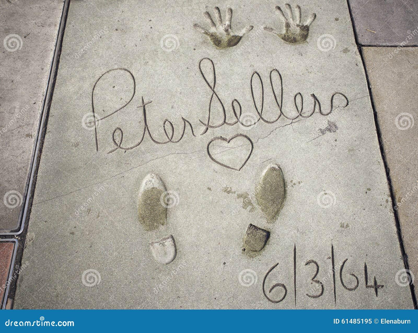 Peter Sellers-handprints-voetafdrukken in Hollywood