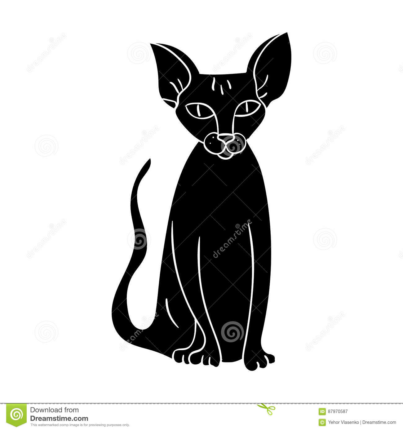 Peterbald Icon In Black Style Isolated On White Background Cat