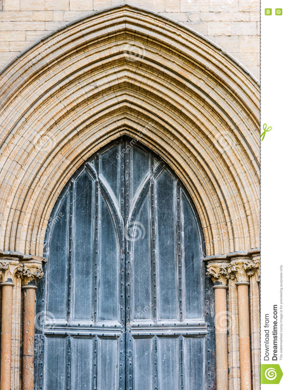 Peterborough Cathedral front wooden gate detail entrance outdoors
