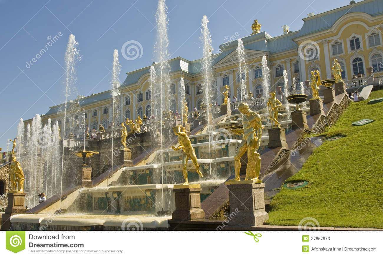 Peterhof Russia  City pictures : Peterhof, Russia July 06, 2012: palace and fountain grand cascade ...